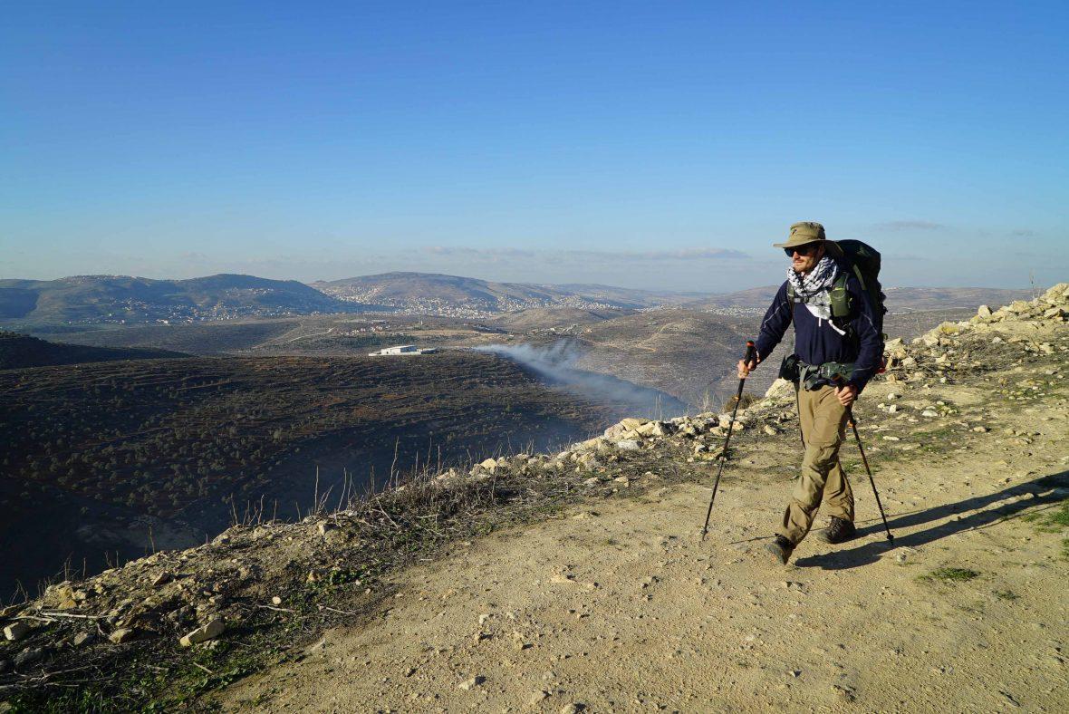 Leon McCarron walking in the West Bank, Palestine.