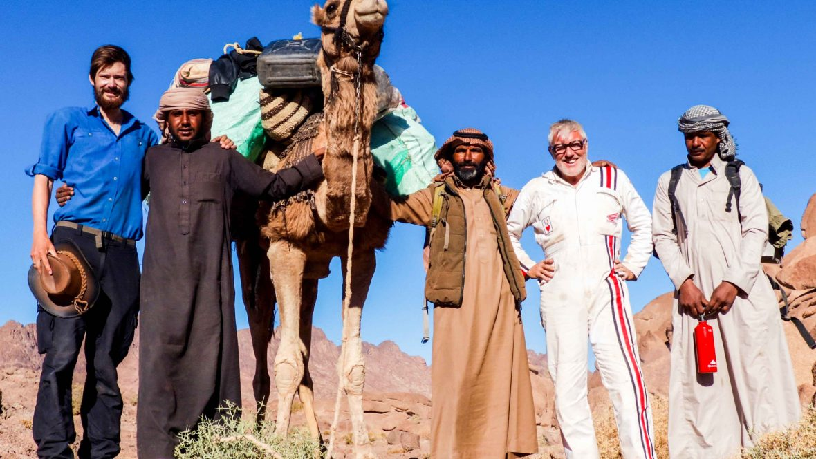Leon McCarron makes friends with some locals in the Sinai Peninsula.