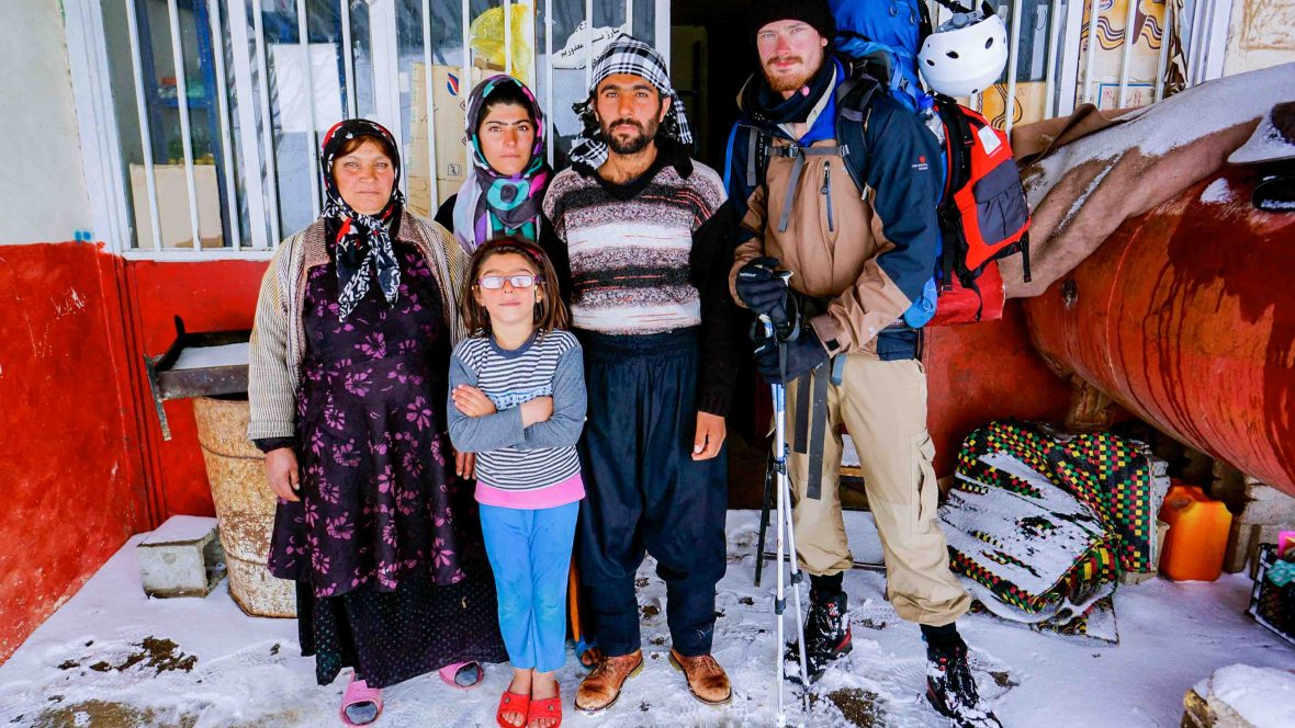 Leon McCarron with a family of Bakhtiari people, a southwestern Iranian tribe.