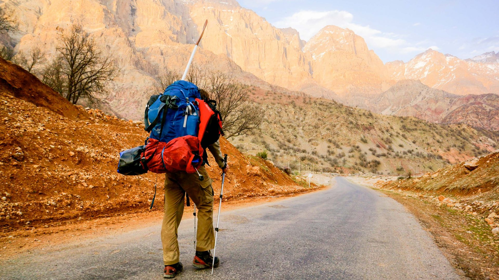 Leon McCarron hikes into the mountains of Iran in early spring.