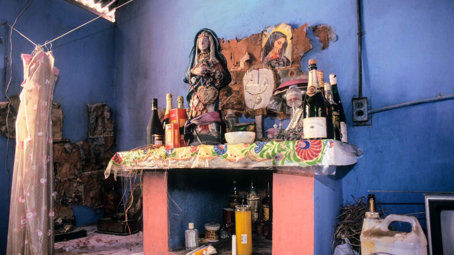 Altar for Ezili Freda and La Siren at the temple of Andre Pierre, Vodou Priest and artist, Pont Rouge, Haiti.