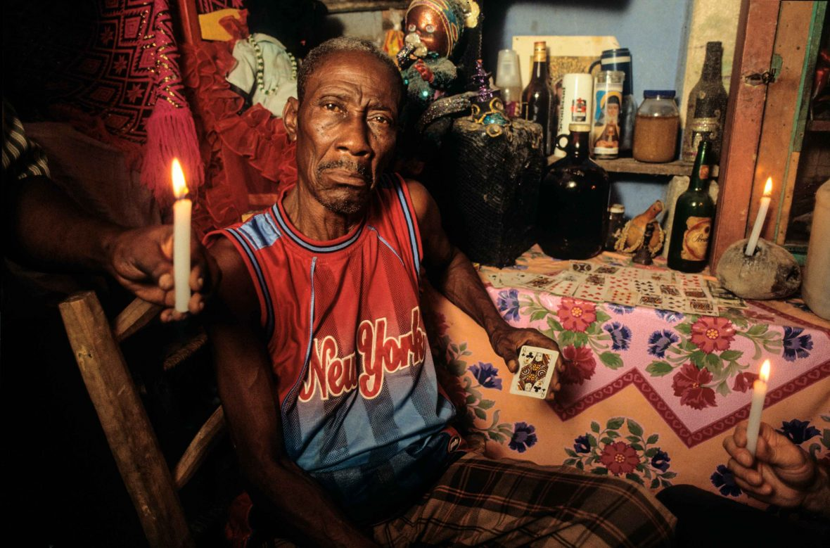 Vodou priest Silva Joseph in his temple, Bel Air, Port-au-Prince, Haiti.