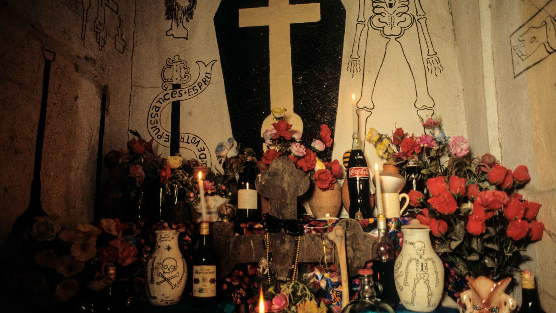 Altar for Gede at the temple of Silva Joseph, Vodou Priest and artist, Bel Air, Port-au-Prince, Haiti.