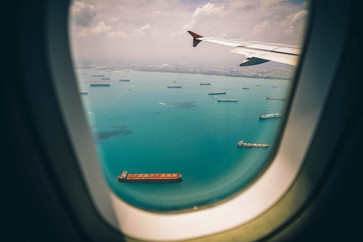 A view of the water from an airplane window.