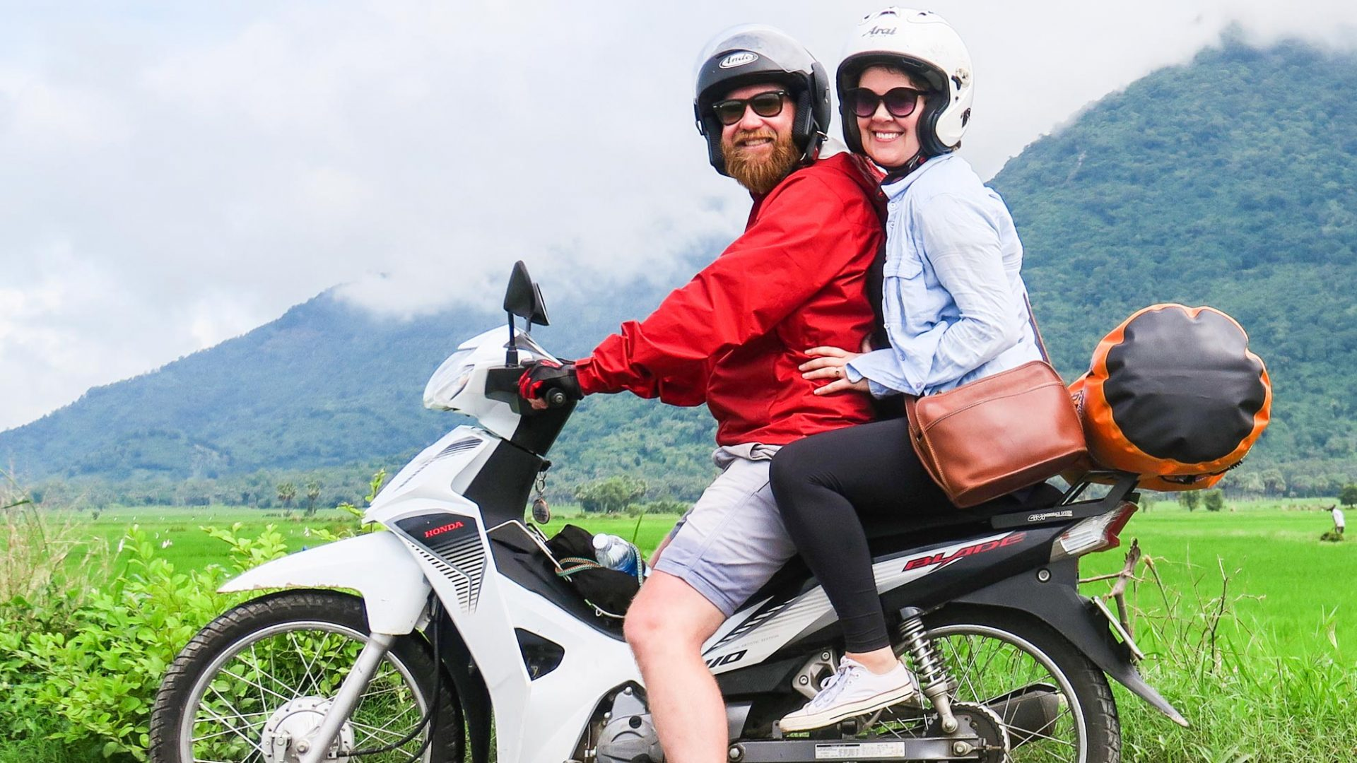 Writer Ben Groundwater has his photo taken on his rented scooter in Vietnam.