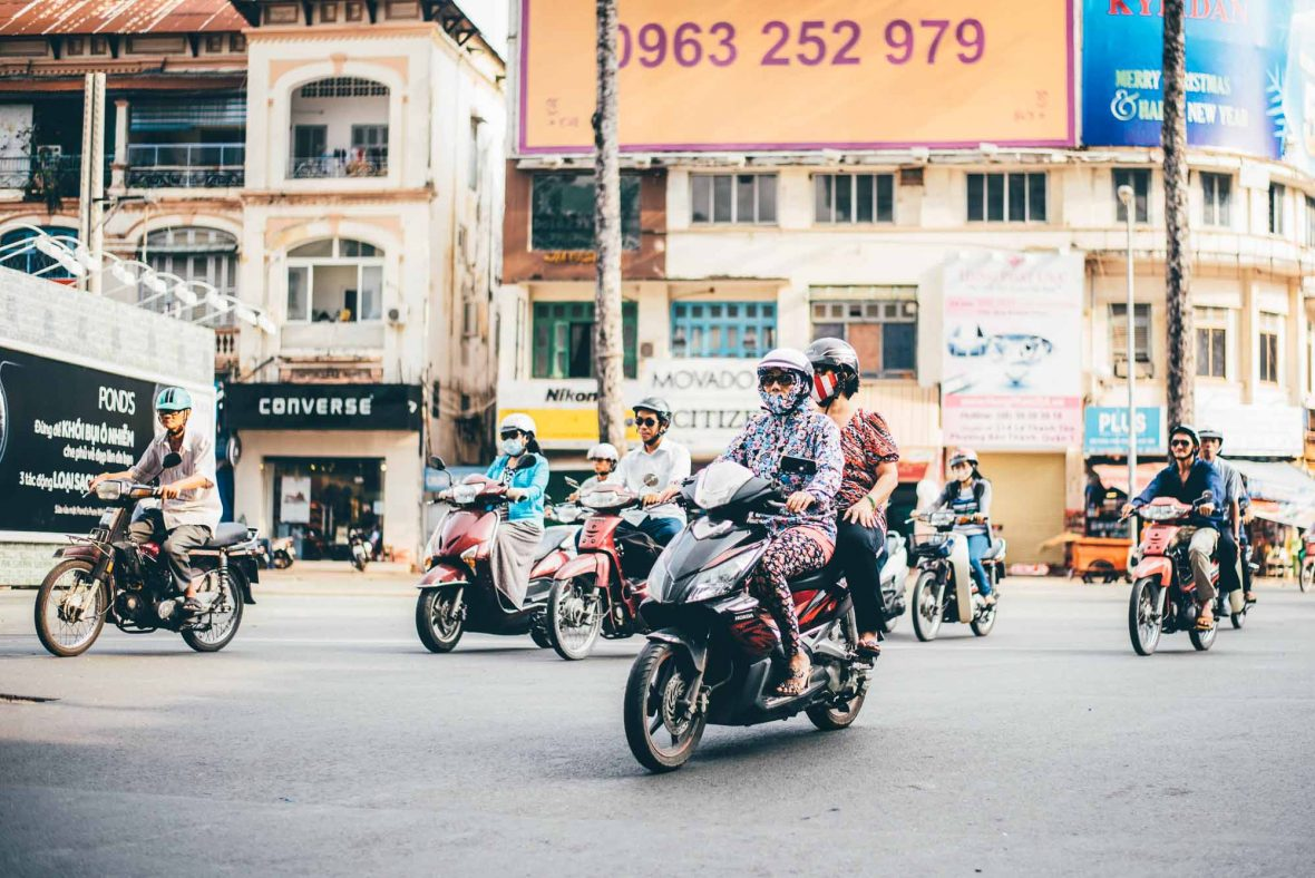 Scooter riders in Vietnam.