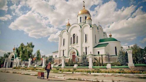 An Orthodox church in Shevchenko Street, Tiraspol, Transnistria.