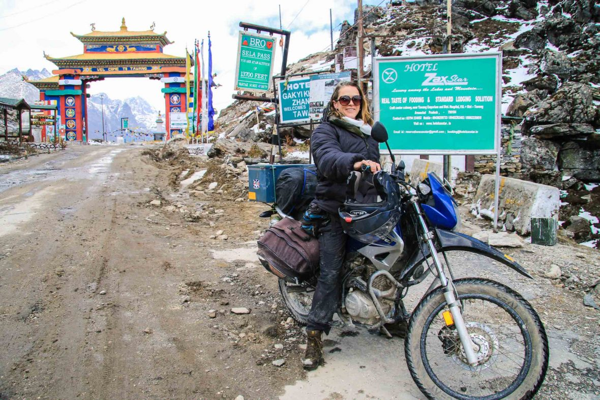 Antonia Bolingbroke Kent on her bike in Arunachal Pradesh, northeastern India.