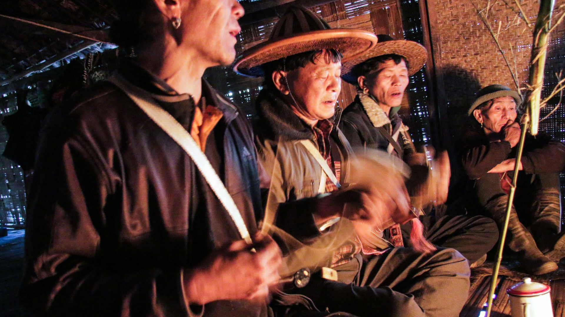 The Idu Shamans (igu) chanting at Reh Festival in Arunachal Pradesh, India.