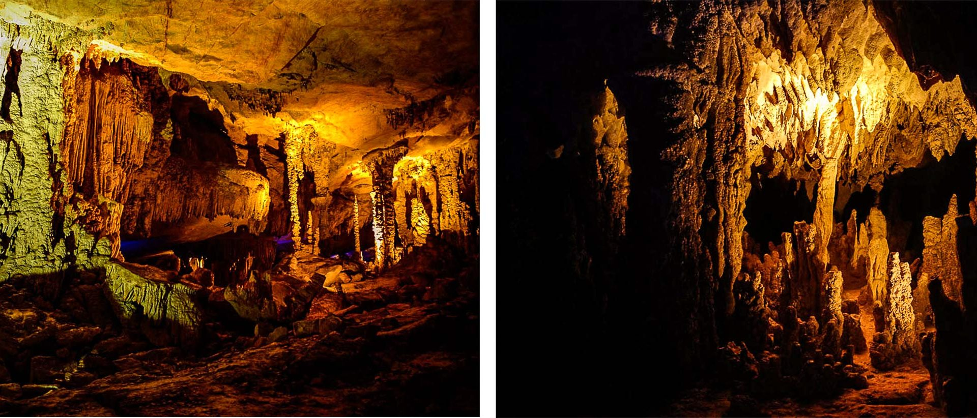 Much to the delight of photographers, the inside of Laos' Kong Lor Cave is tastefully lit.