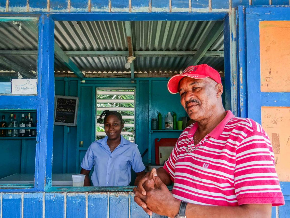 Restaurant owner John Fergus at Peoples Place in Montserrat in the Caribbean.