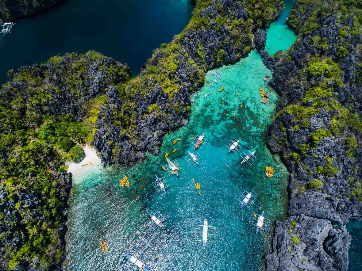An aerial view of the small lagoon in El Nido, Palawan, Philippines.