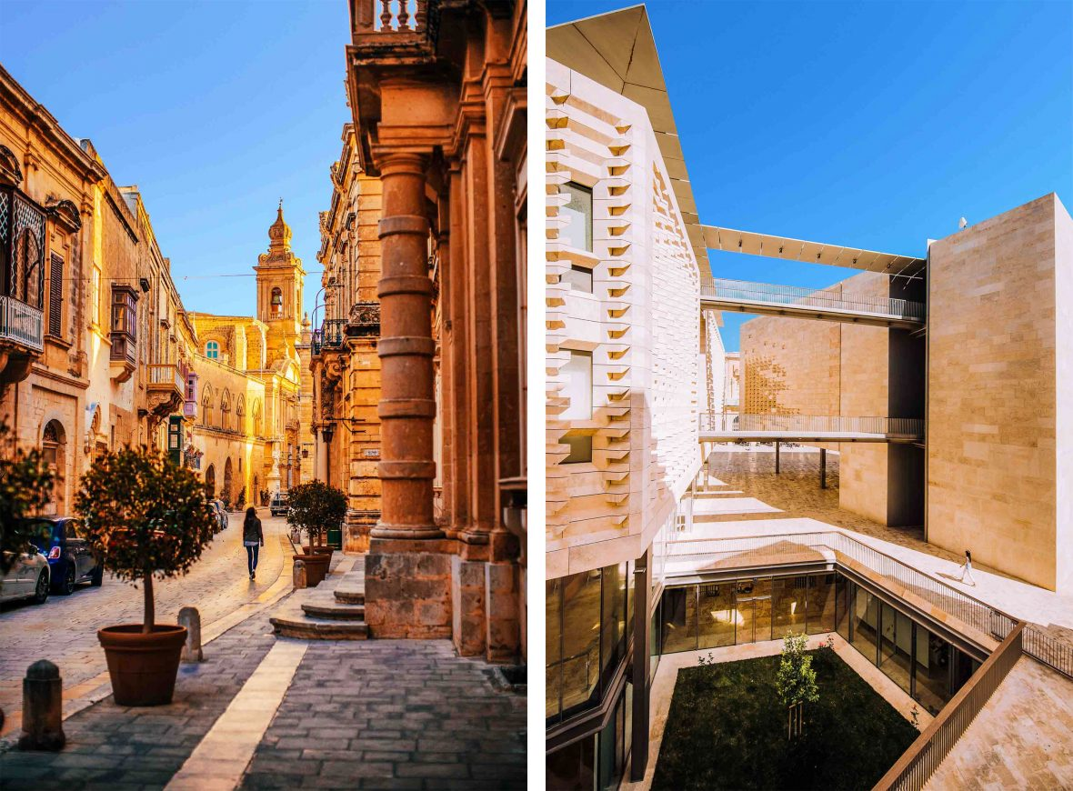 Left: Exploring the town of Mdina, Malta. Right: The Renzo Piano-designed Parliament House in Malta's capital, Valletta.