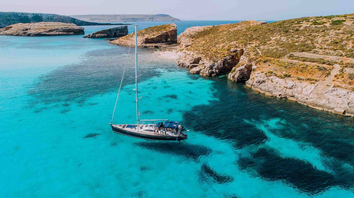 The Blue Lagoon off Comino, Malta.