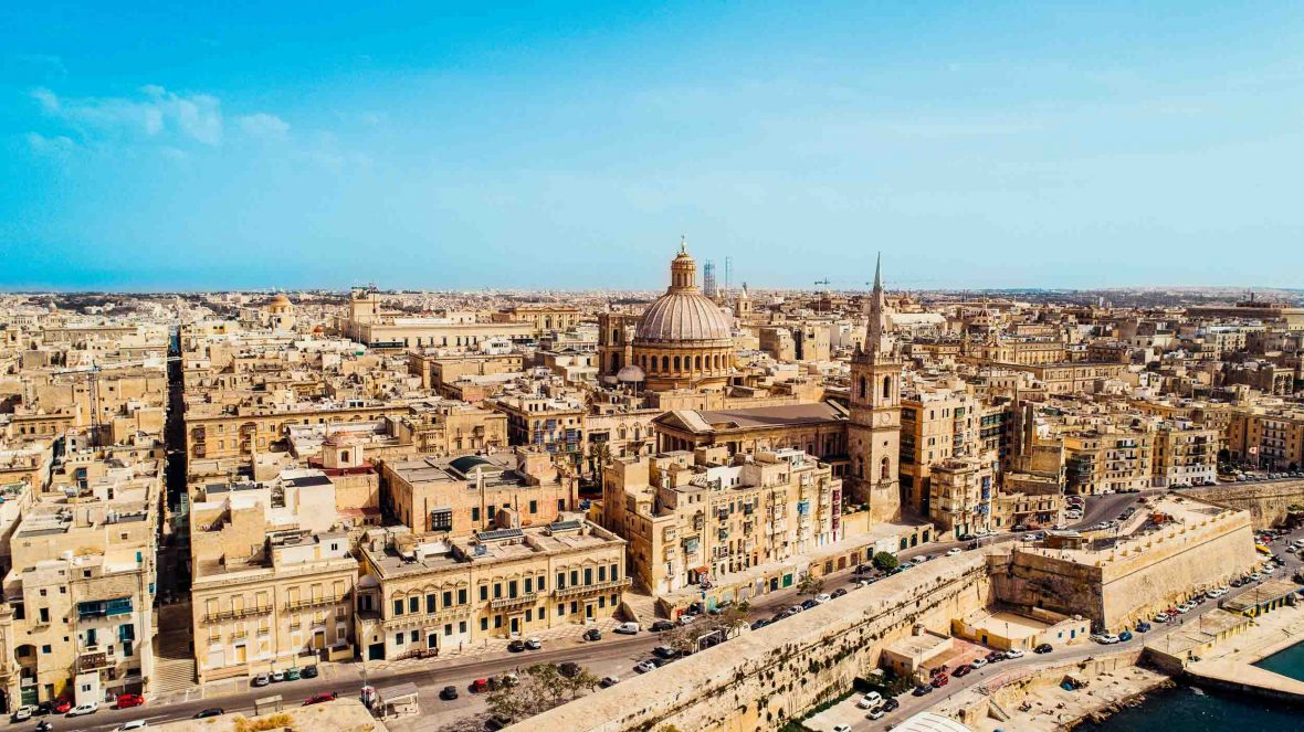 An aerial view over the European Capital of Culture 2018, Valletta, Malta.