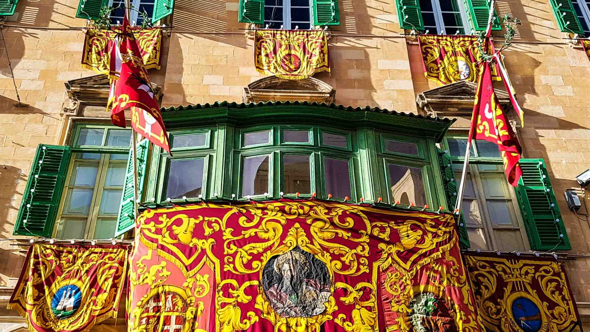 Festa façade on one of the buildings during the Valletta2018 opening week, Valletta, Malta.