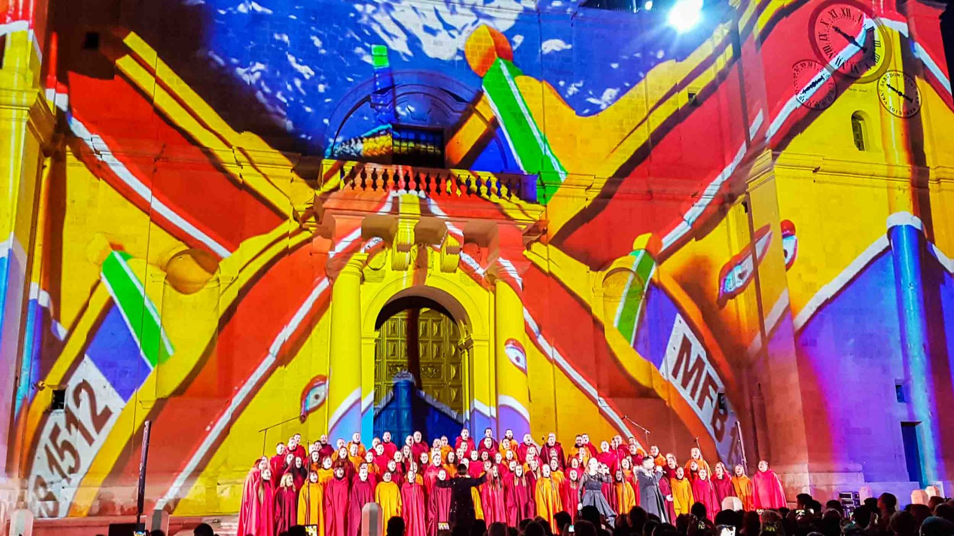 Projections onto St. Johns Cathedral during the Valletta2018 opening week.