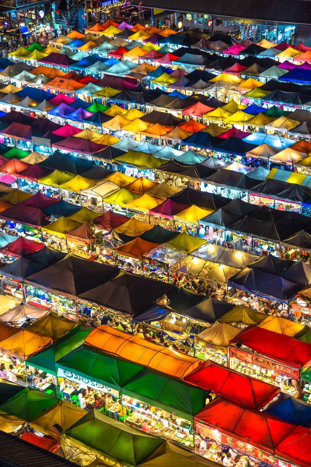 An aerial view of CentralWorld market in Bangkok, Thailand.