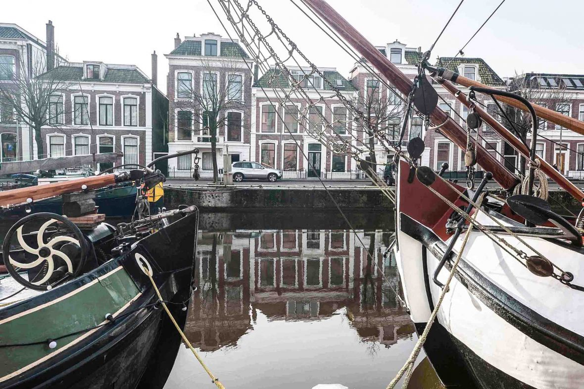 Historic sailing vessels—former Dutch commercial ships—are a reminder of Leeuwarden's Golden Age of trade.
