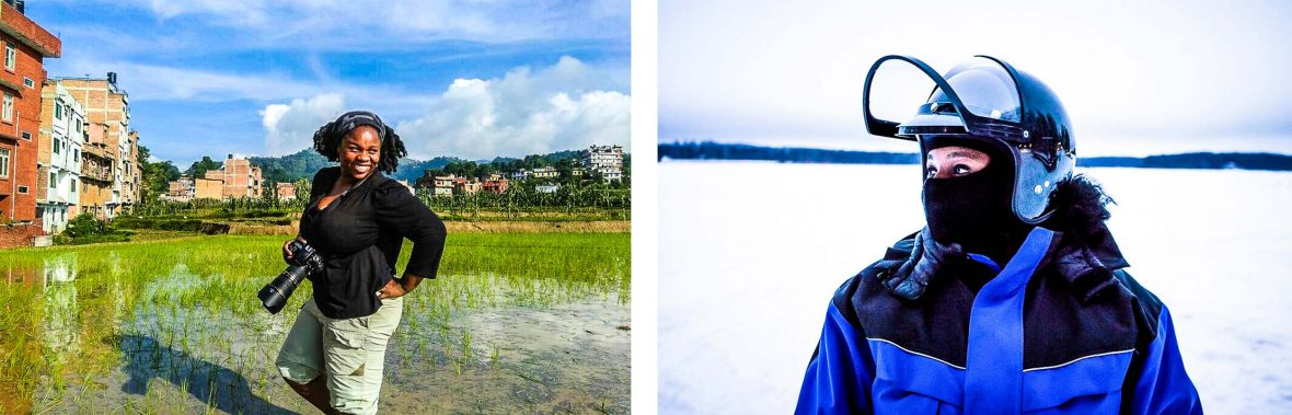 Left: Featured contributor Lola Akinmade Åkerström photographing rice paddies in Panauti, Nepal. Right: Lola snowmobiling on a frozen lake in Lahti, Finland.
