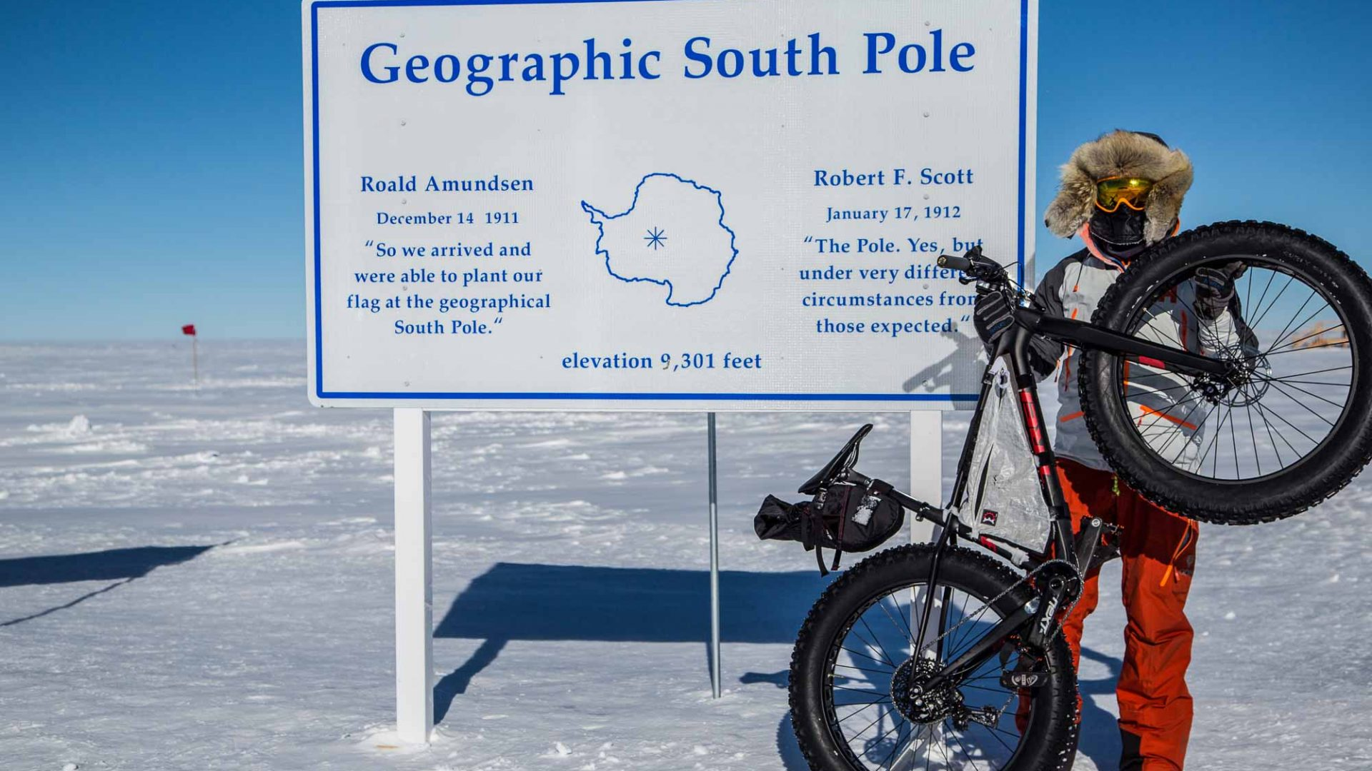 Eric Larsen's attempt to be the first person to bike to the South Pole.