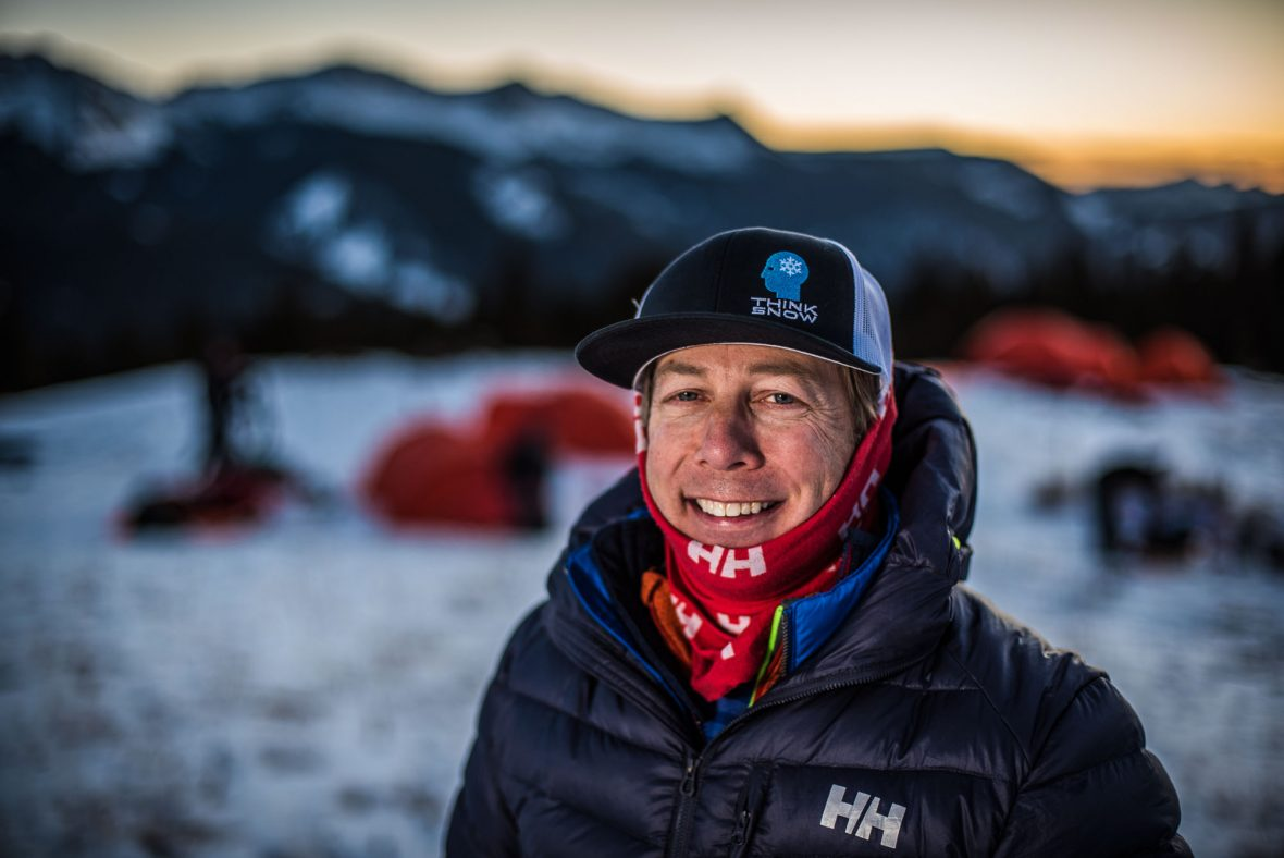 Eric Larsen in front of the participants tents during a polar training camp.