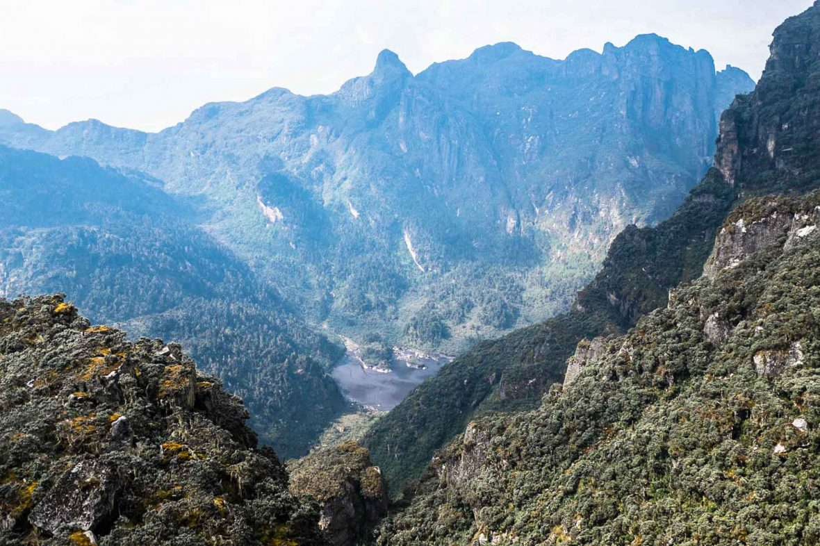 The spectacular vista of the Rwenzori mountains in Uganda.