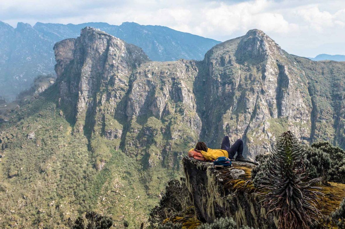 Taking a break over the spectacular views of the Rwenzori mountains, Uganda.
