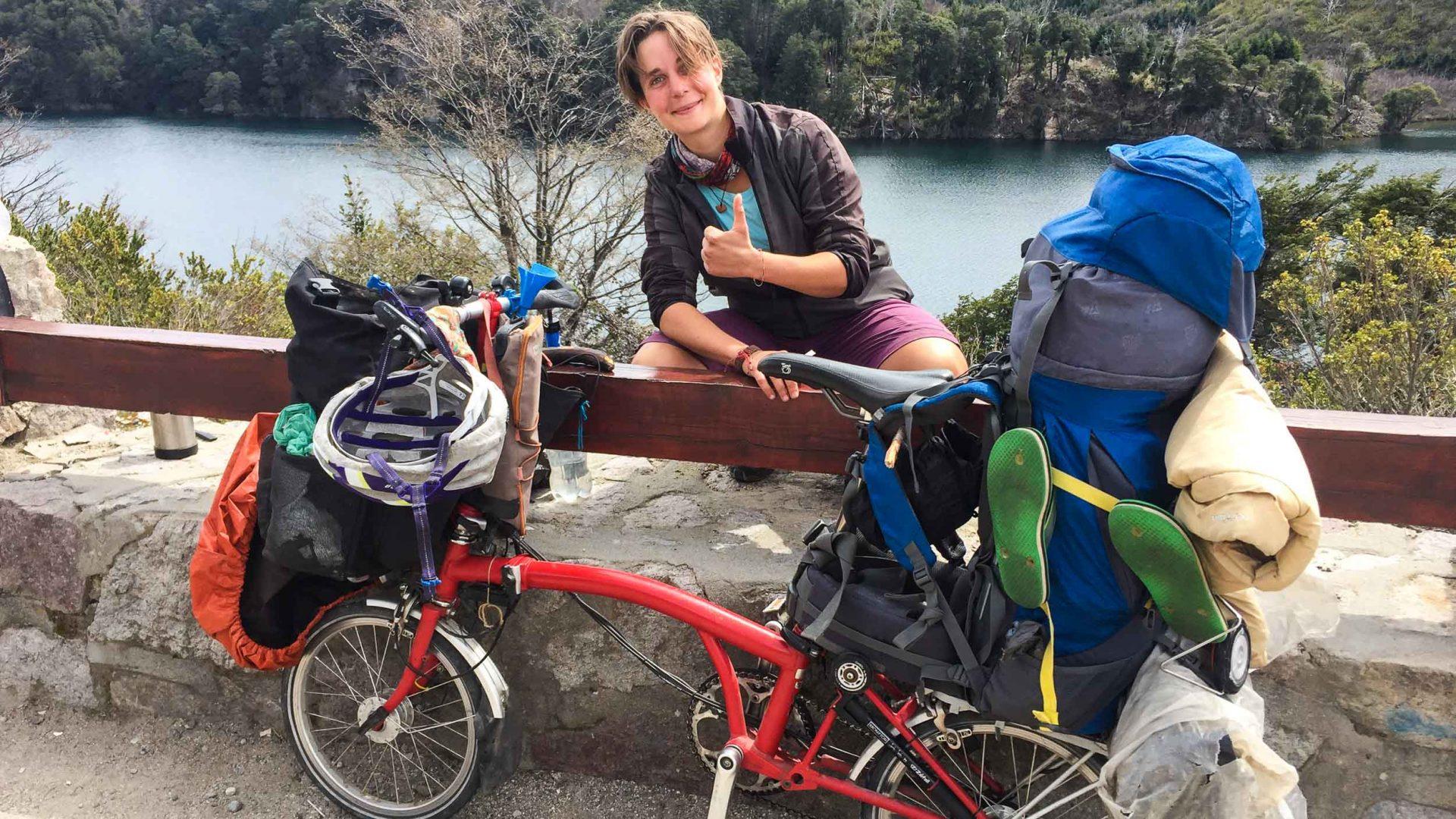 Cycling in Parque Nacional Lanín near San Martin de los Andes, Argentina.