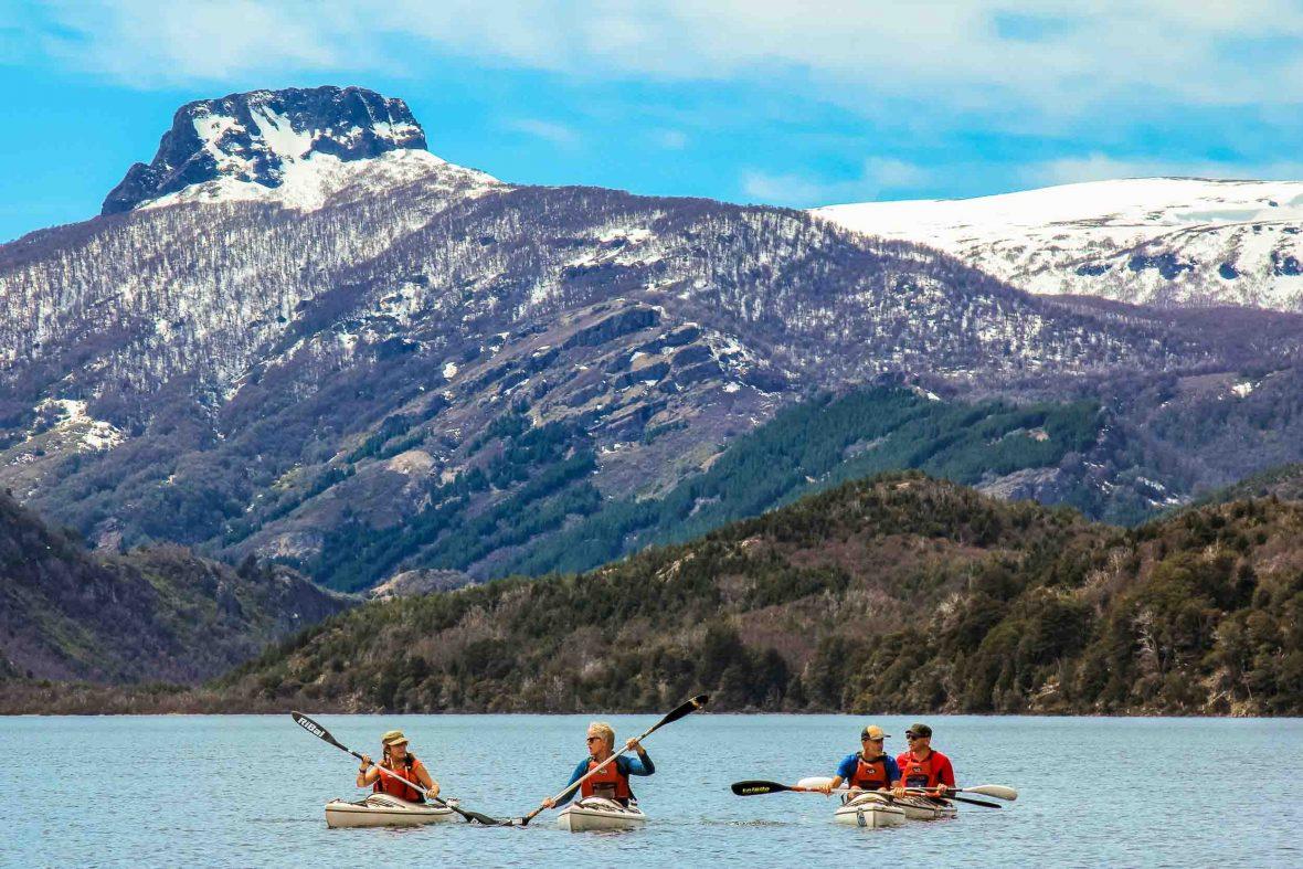 Kayaking along Patagonia's Chimehuin River near San Martin de los Andes.