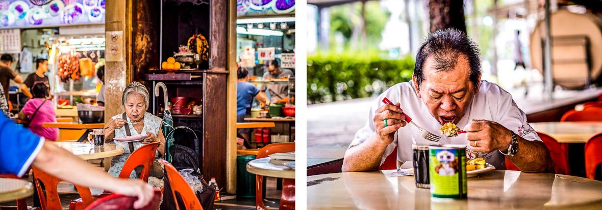 Locals enjoy the food at a hawker center in Singapore.