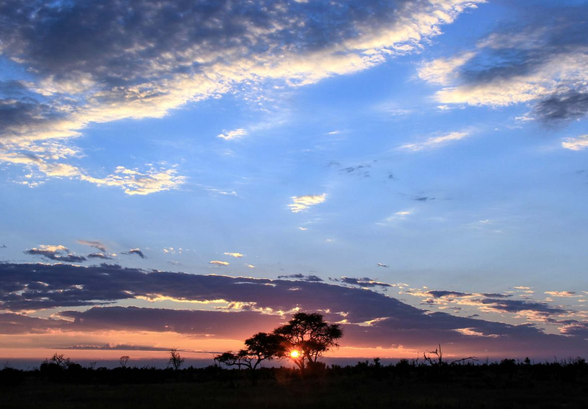 Sunset in Hwange National Park, Zimbabwe.