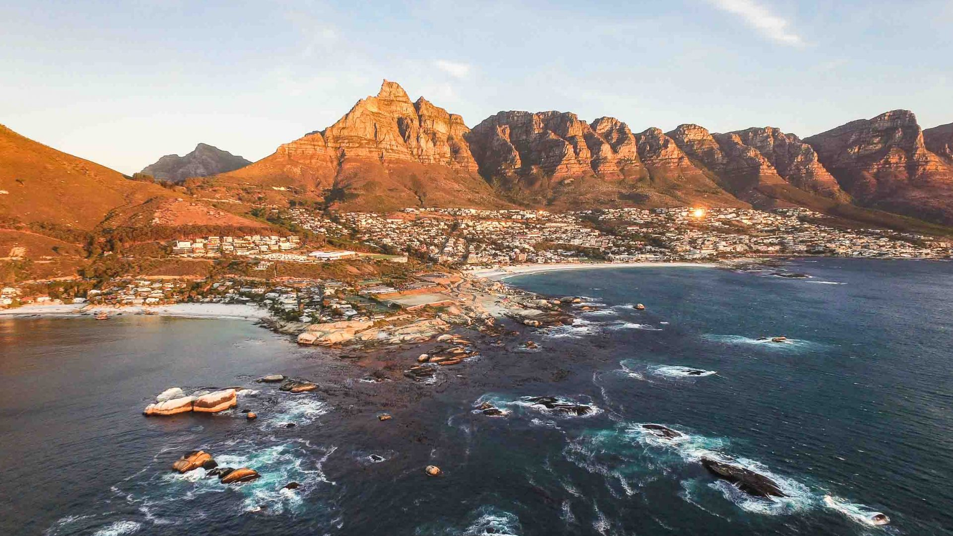 A drone shot over Clifton, Capetown, South Africa.