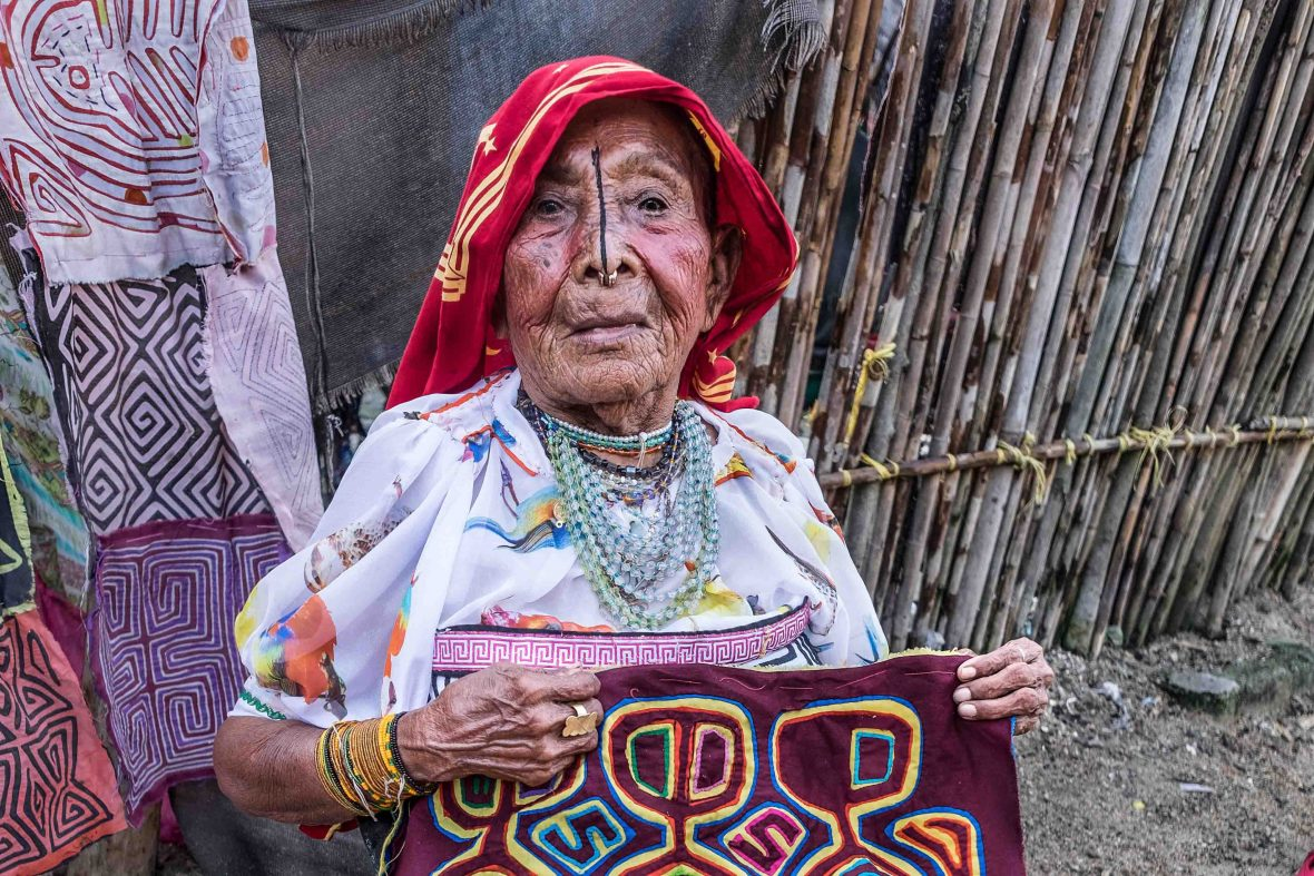 This Kuna woman from San Blas in Panama called photographer Nori Jemil over to take her portrait, telling her she was over 80 years old.