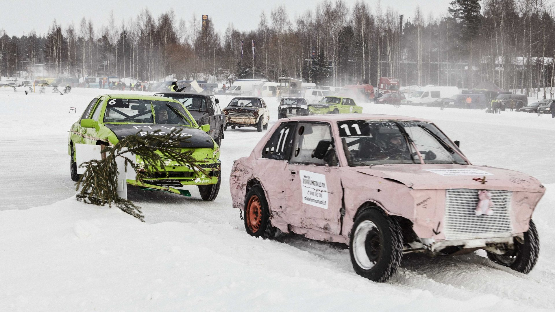 Rokkiralli racers fling their bargain-bucket racing machines around a frozen lake in Saarijärvi, central Finland.