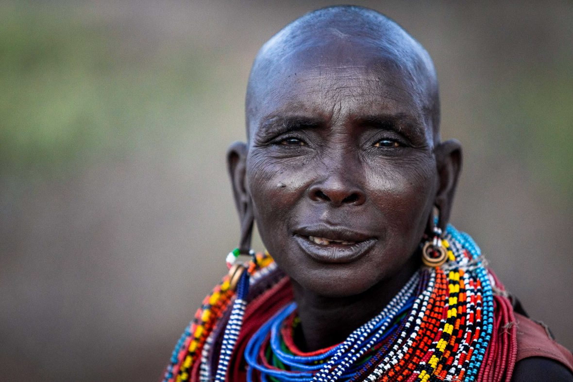 Portrait of a Samburu woman living in northern Kenya. Closely related to the Maasai of East Africa, they are semi-nomadic pastoralists, and very dependent on their cattle, sheep, goats, and camels for survival.