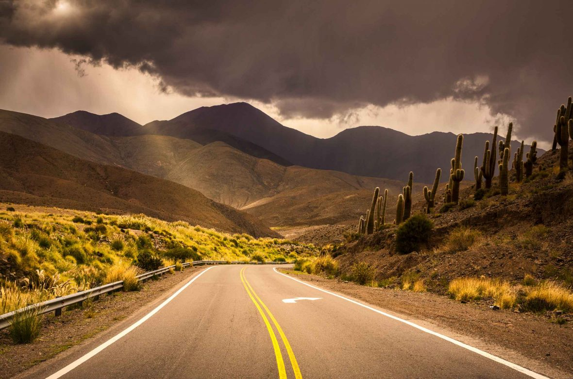 The road winds through the mountains in Salta, northwest Argentina.