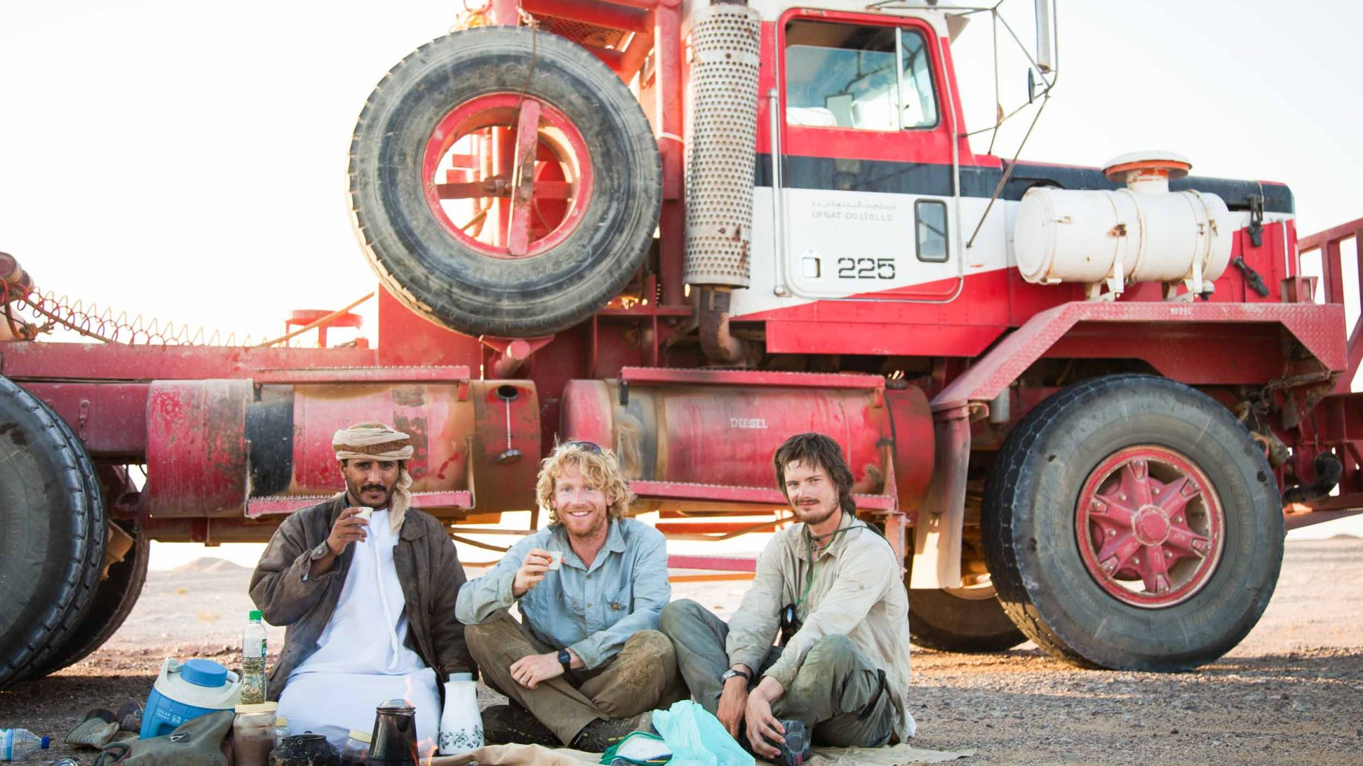 Stopping for coffee with a Bedouin lorry driver.