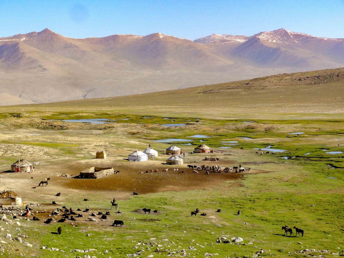 Views out over the valley, dotted with yurts, in the Wakhan, Afghanistan.