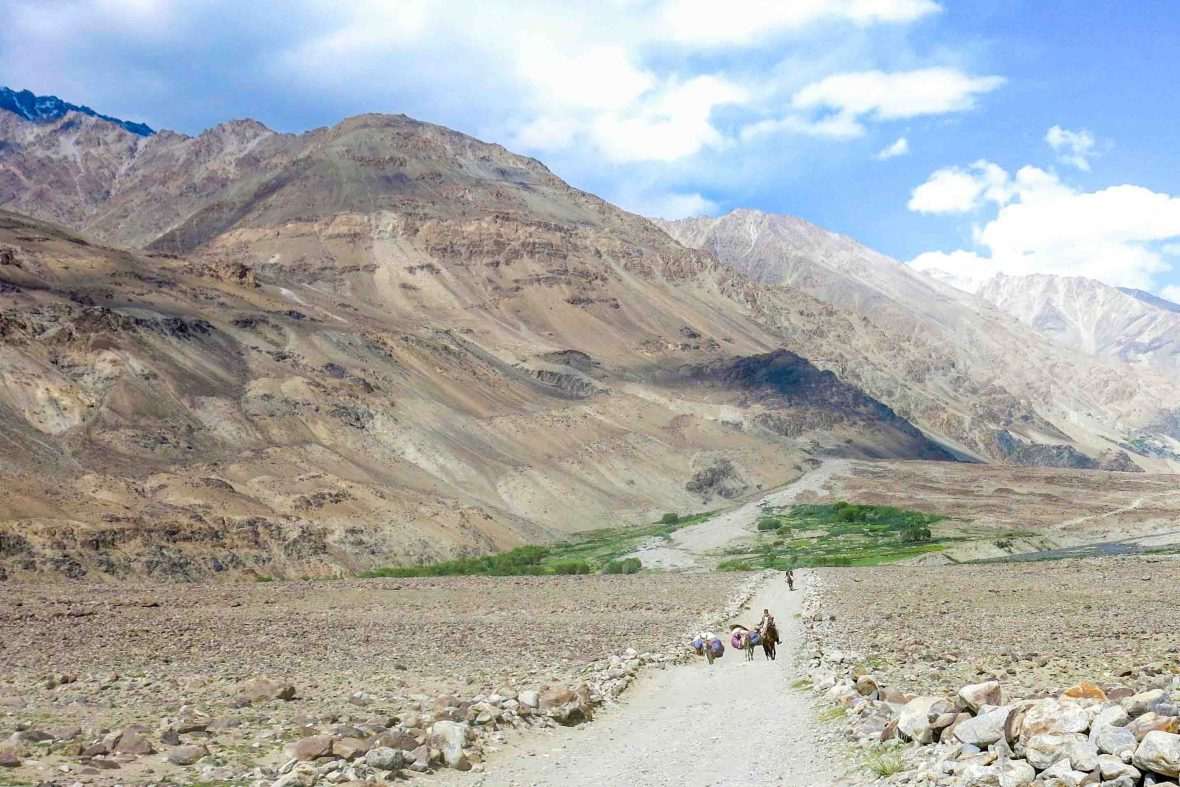 Mountains rise up from the valley floor in the Wakhan, Afghanistan.