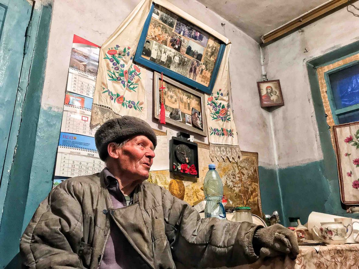 82-year-old Ivan Semenyuk is a samosely, a self-settler who returned home soon after the explosion and now lives inside the Chernobyl Exclusion Zone.