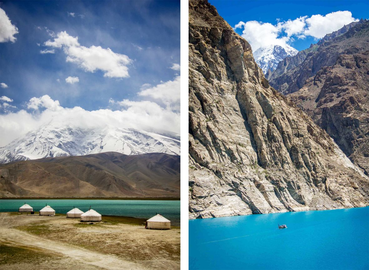 Left: Kyrgyz yurt camp, China; Right: Attabad Lake, Pakistan.