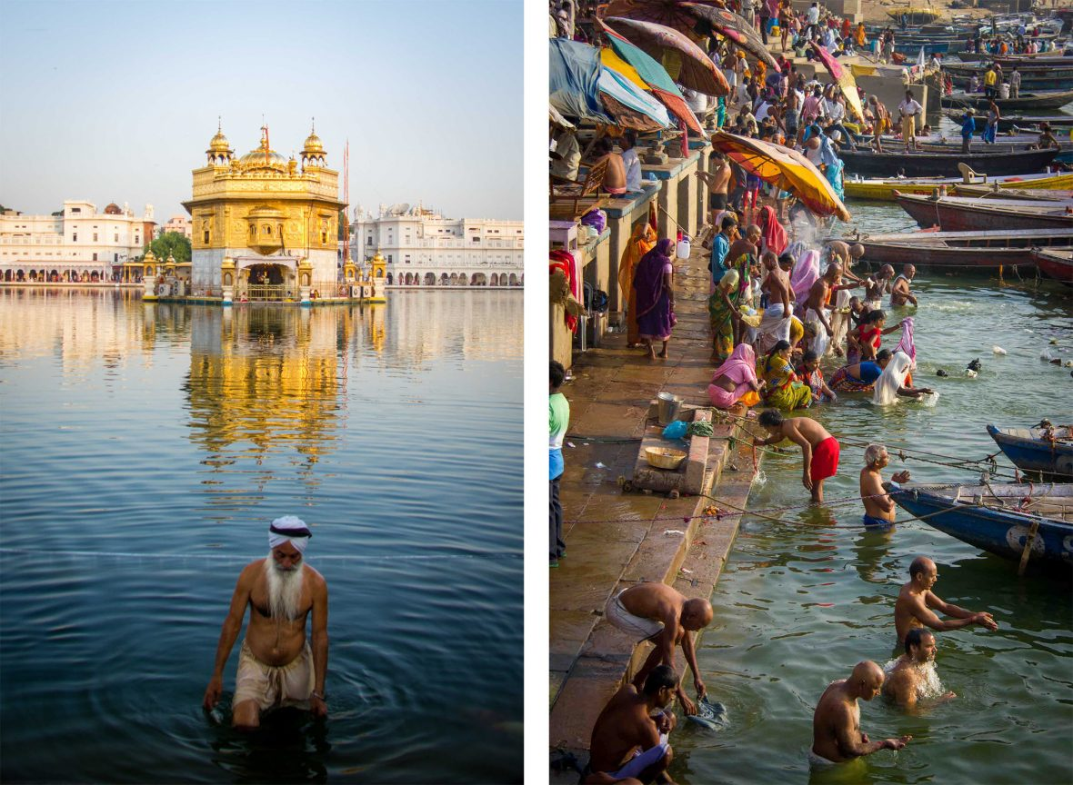 Left: The Golden Temple, Amritsar, India; Right: The ghats of Varanasi, India.