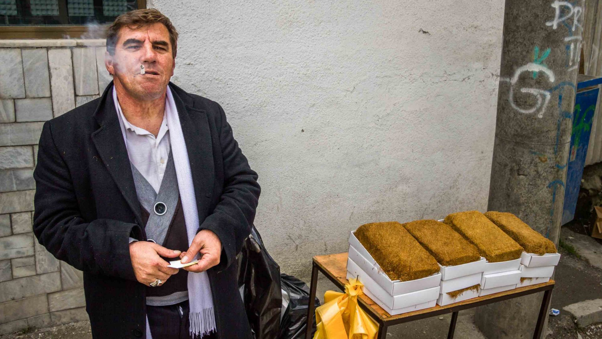 A tobacco seller in Macedonia.