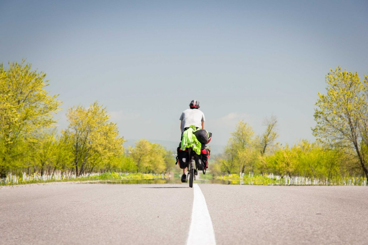 Riding into spring: Crossing the border from Georgia to Azerbaijan.