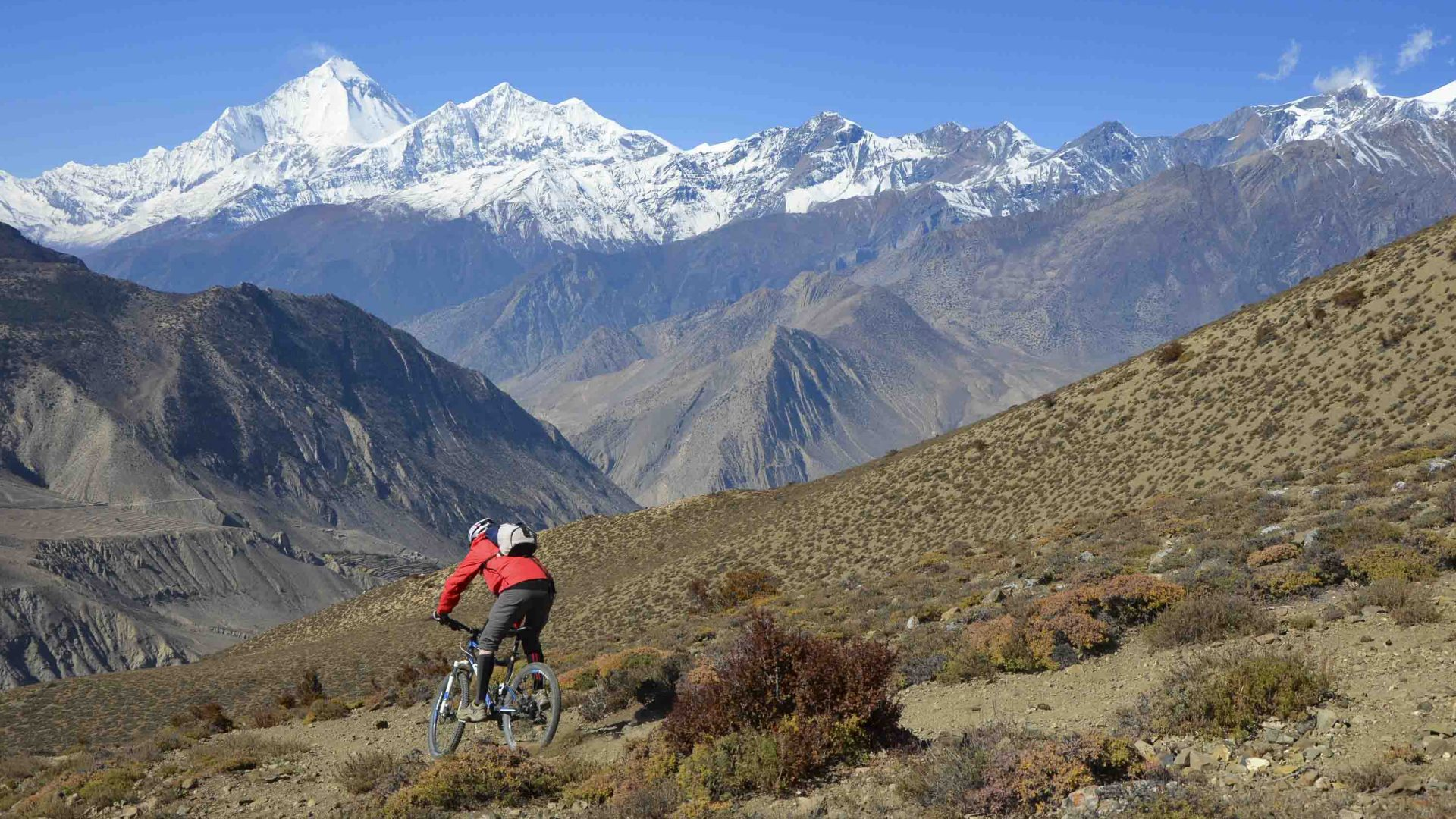 Biking in Nepal's stunning Himalayan Mountain Range.
