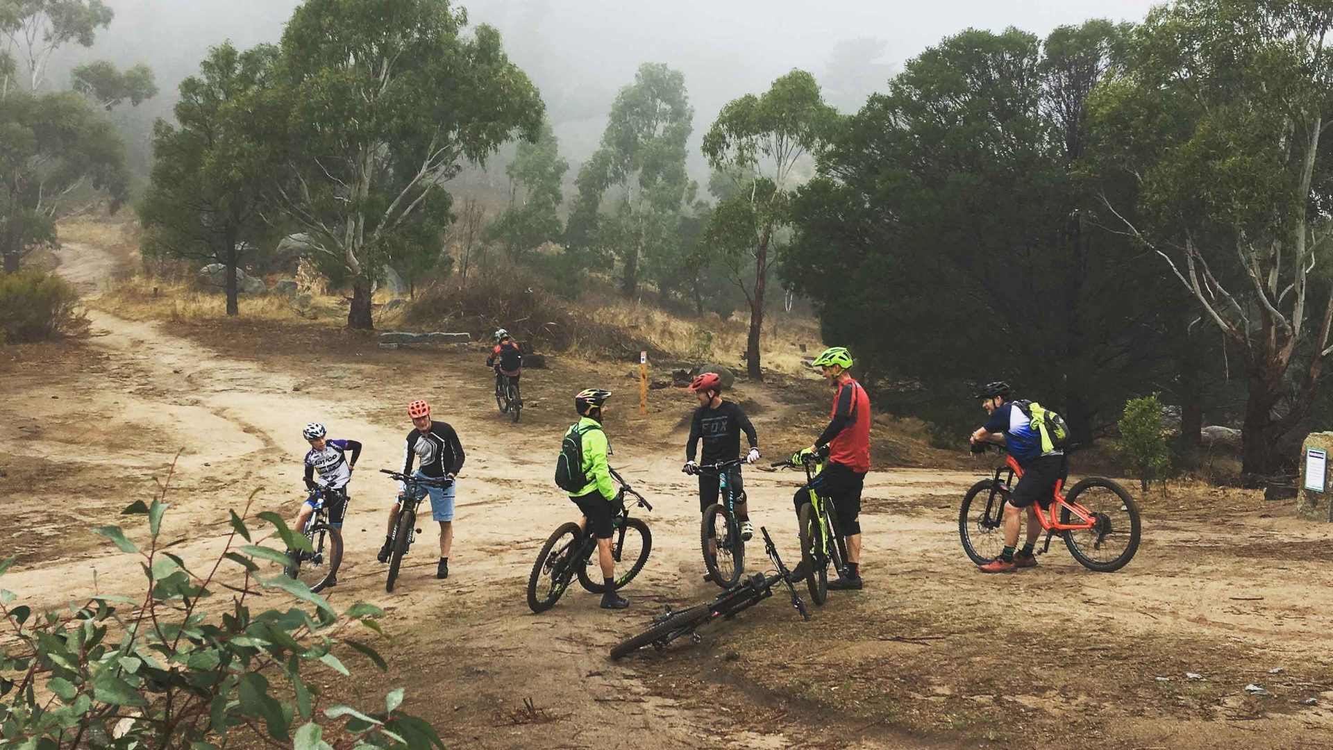 Mountain bikers gather together on one of the trails in Harcourt, Australia.
