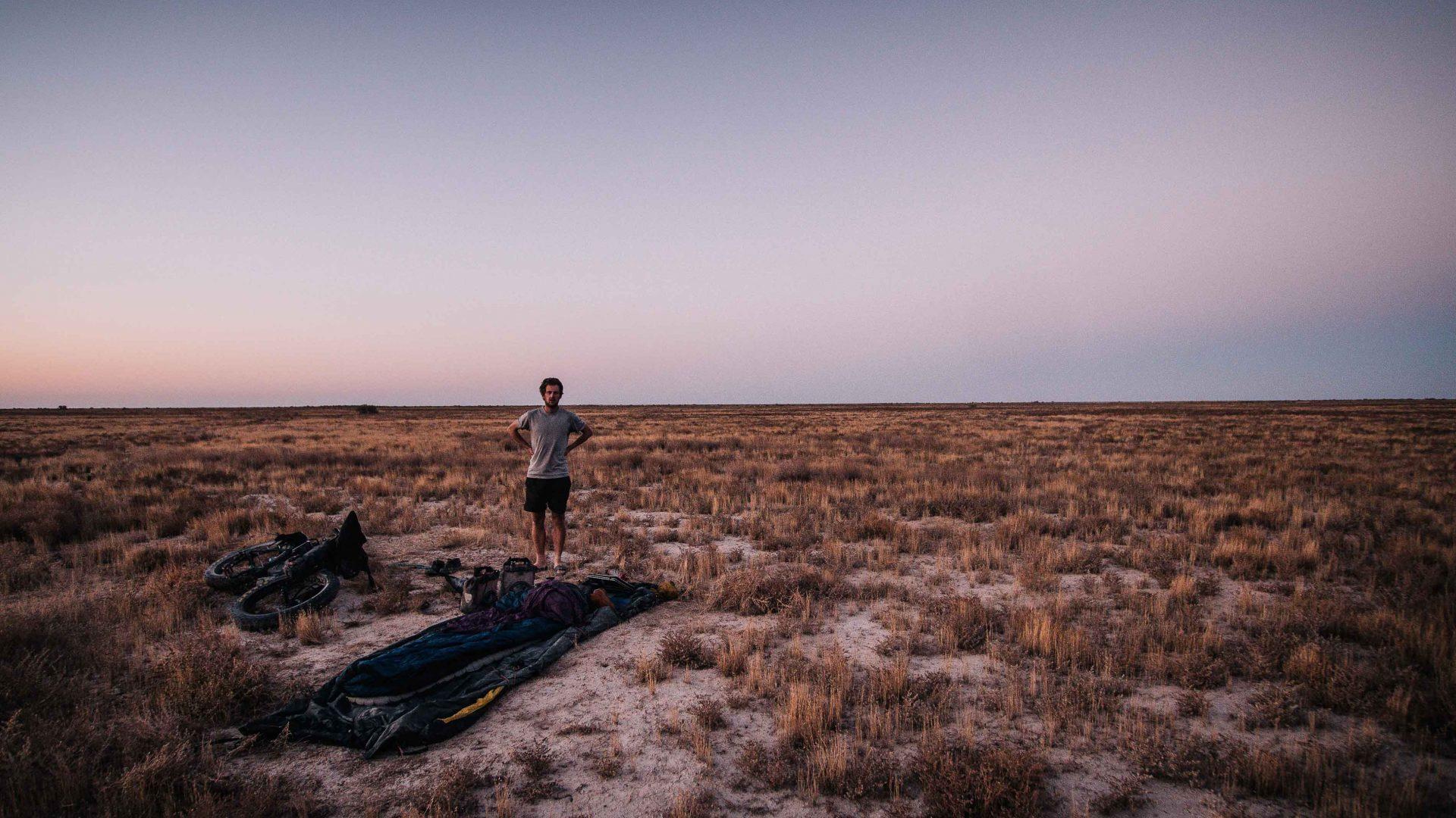 Setting up camp in Uzbekistan's Karakalpakstan Desert.