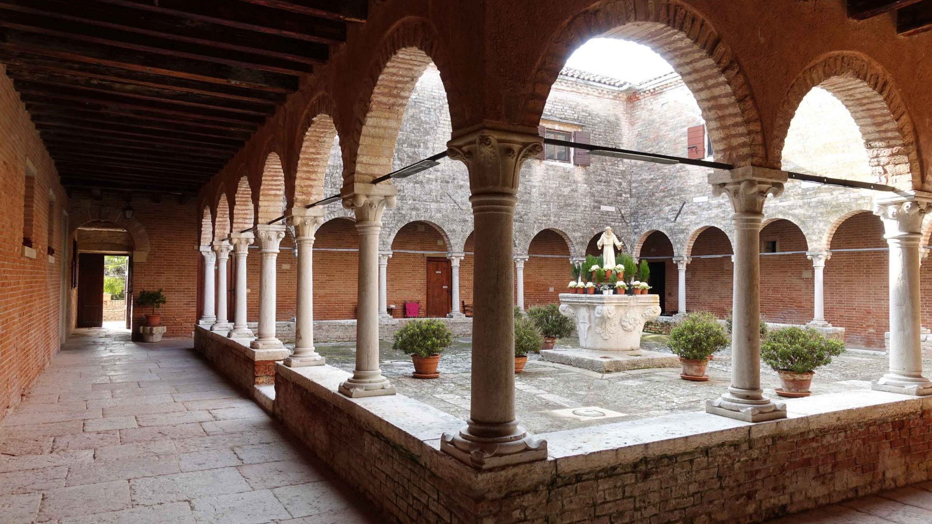 Cloisters on the island of San Francesco del Deserto in the lagoon of Venice.