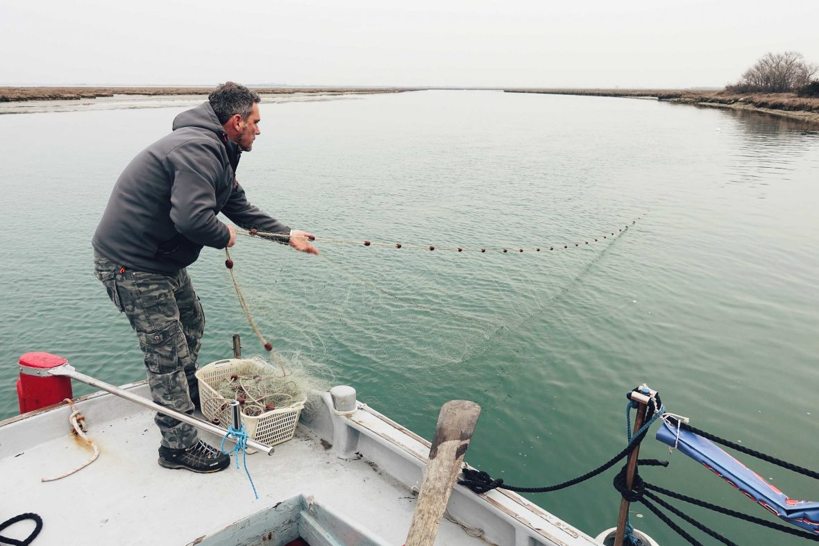 Sebastiano casts his net into the Venice lagoon in search of ever-depleting fish stocks.